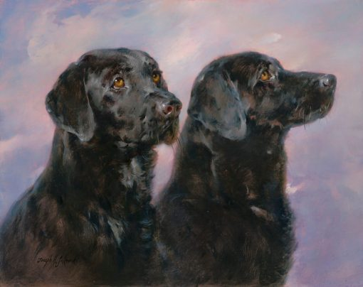 Black Labs - Oil on prepared canvas