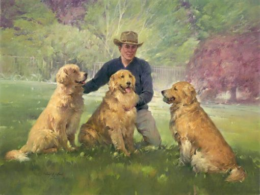 Alan And His Three Goldens oil on canvas