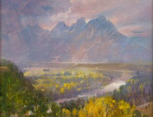 Autumn Glory At The Tetons oil on panel