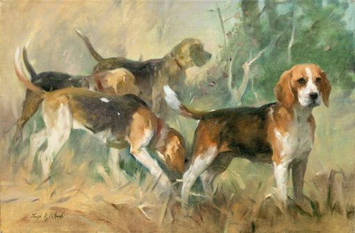 Beagles On The Scent oil on canvas