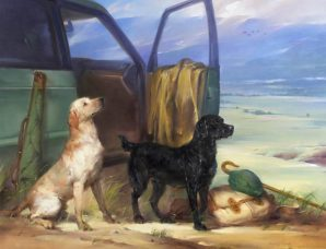 British Labs In A Scottish Landscape oil on canvas