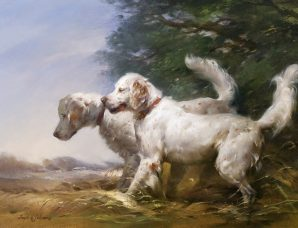 "English Setters Afield 24"" x 36"" oil on prepared linen canvas handmade gold leaf frame"