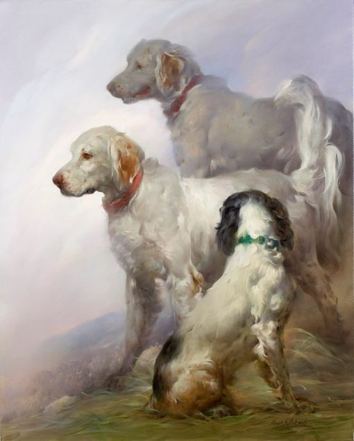 English Setters In The Mist framed, signed and numbered Studio giclee print