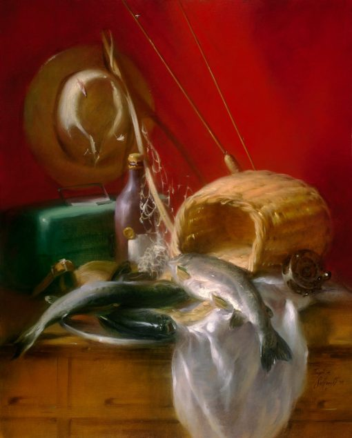 A Fine Catch oil on prepared linen canvas