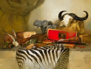 Guns And Trophies oil on prepared canvas