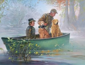 Hunting Among The Arkansas Cypress oil on canvas