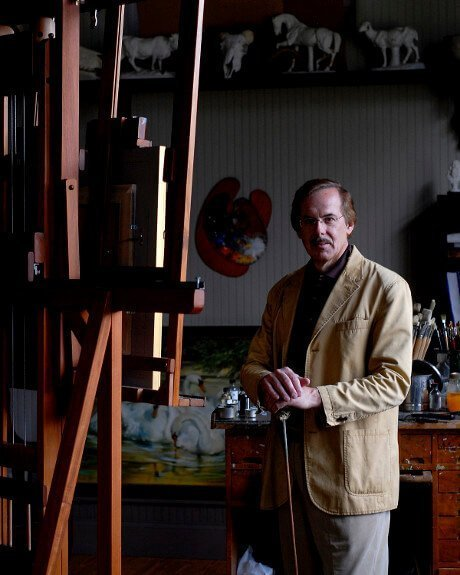 Joseph in his studio with easel