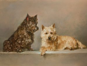 Pretzel and Chessie oil on prepared panel