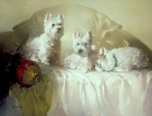 Westies On A Bed oil on canvas